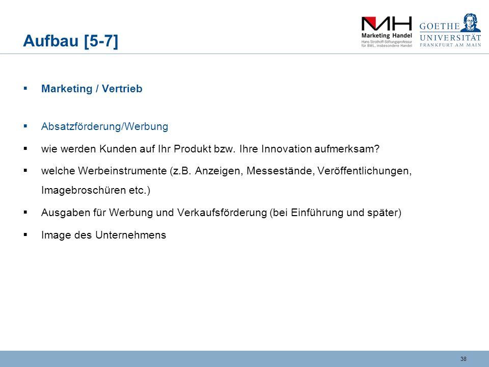 Aufbau [5-7] Marketing / Vertrieb Absatzförderung/Werbung